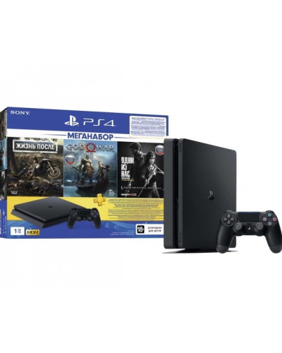 Sony PlayStation 4 Slim 1TB Black [CUH-2208B] + 3 игры + PS Plus 3 мес