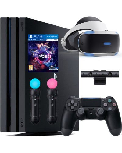 Sony PlayStation 4 Pro 1ТБ Black CUH-7216B + PS VR + Camera + VR Worlds + PS Move